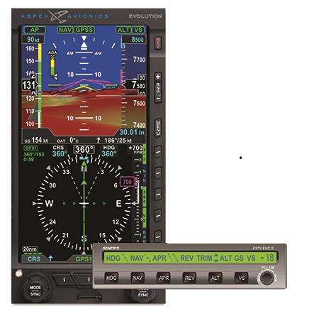 Evolution Pro PFD and the Genesys (S-TEC) System 55x autopilot